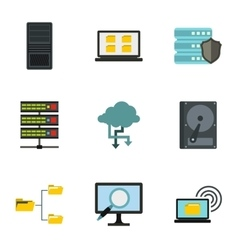 Data protection icons set flat style vector