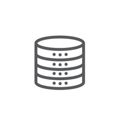 database icon in line style on white background vector image