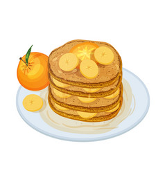 delicious pancakes or oladyi topped with syrup and vector image