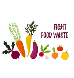Different types vegetables fight waste template vector