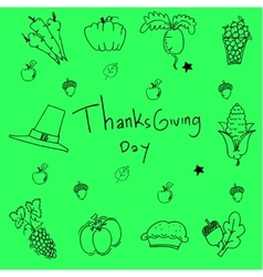Doodle of thanksgiving on green backgrounds vector