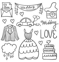 doodle of wedding element various vector image