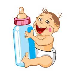 Drawing cartoon smiling baby with a bottle of milk vector