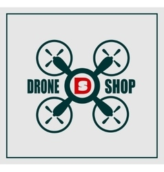 Drone icon drone shop text and emblem vector