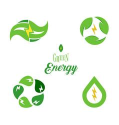 eco energy symbol template logo set green power vector image