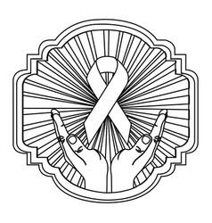 emblem ornamental hands holding up breast cancer vector image