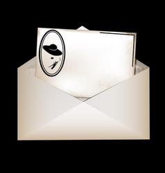 envelope and retro female card vector image