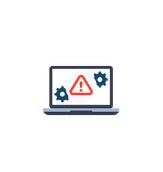 error alert icon with laptop vector image
