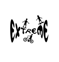 Extreme sport cartoon silhouettes vector