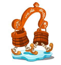 fabulous wooden yoke with buckets isolated on vector image