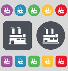factory icon sign A set of 12 colored buttons Flat vector image