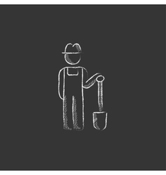 Farmer with shovel Drawn in chalk icon vector