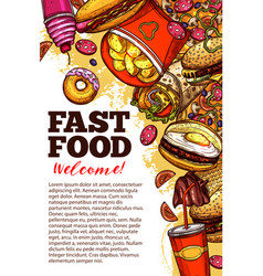 Fast food restaurant banner with takeaway menu vector