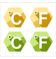 flat design Celsius and Fahrenheit symbol icon set vector image