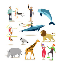 Flat icons set of dolphinarium circus vector
