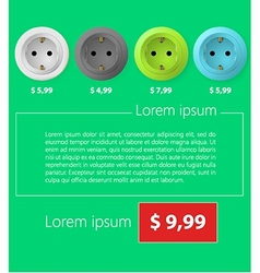 Flat minimalist template business design Sockets vector image