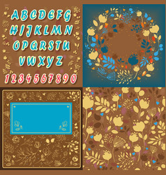 floral font card background and round pattern vector image