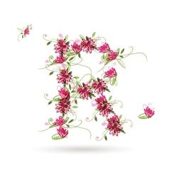 Floral letter R for your design vector image
