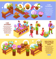 florist horizontal banners collection vector image