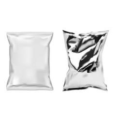 foil snack bag white plastic food sachet isolated vector image