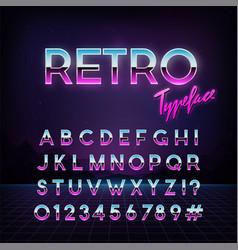 Futuristic retro typeface 80s style alphabet vector