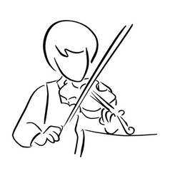 Girl playing violin sketch doodle vector