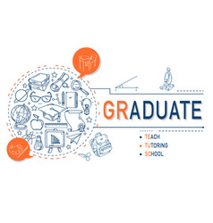 graduate icons collection for education vector image