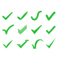 green check mark icons set vector image