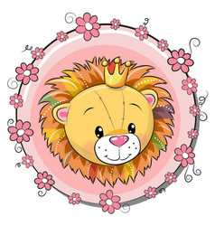 Greeting card cute cartoon lion vector