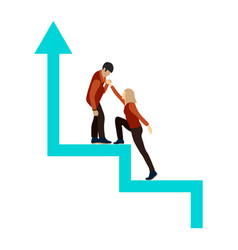 guy helps the girl climb up the career ladder vector image