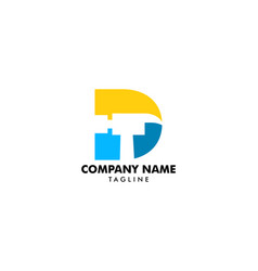 hammer logo with letter d repair construction or vector image