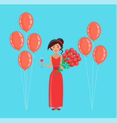 Happy woman holding balloons and rose bouquet vector