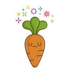 Kawaii smiling carrot cartoon vector