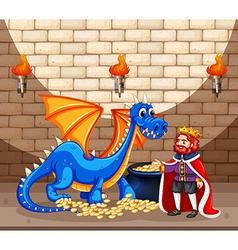 King and blue dragon with gold coins vector image