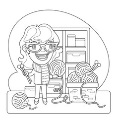 knitter coloring page vector image