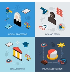 Law Isometric Set vector image