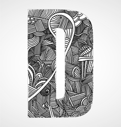 Letter D from doodle alphabet vector image