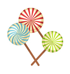 Lollipop hard candy isolated flat icons vector