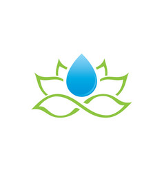 Lotus and water drop logo vector