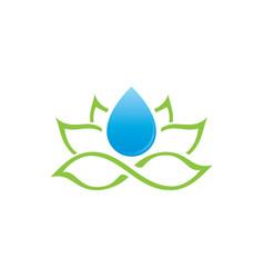 Lotus and water drop logo vector