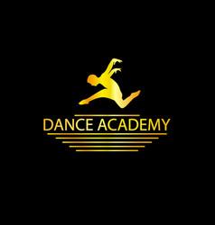 Luxury golden dance academy logo vector