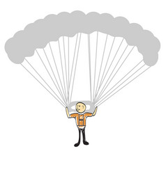 Man flying on a hang glider vector