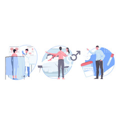 Man sexual health flat compositions vector