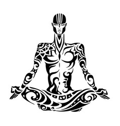 meditation yoga man silhouette vector image