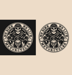 Motorcycle vintage round label vector