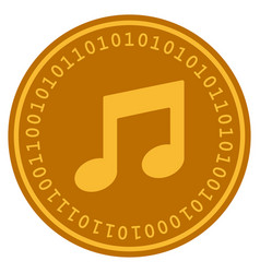 music notes digital coin vector image