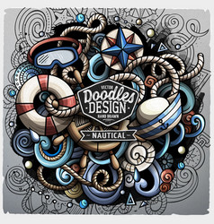 nautical cartoon doodle vector image