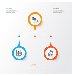 New icons set collection of residential winter vector