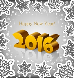 New Year 2016 grey background vector image