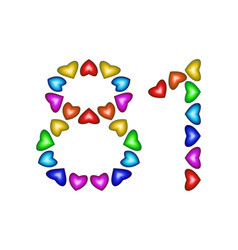 number 81 eighty one of colorful hearts on white vector image